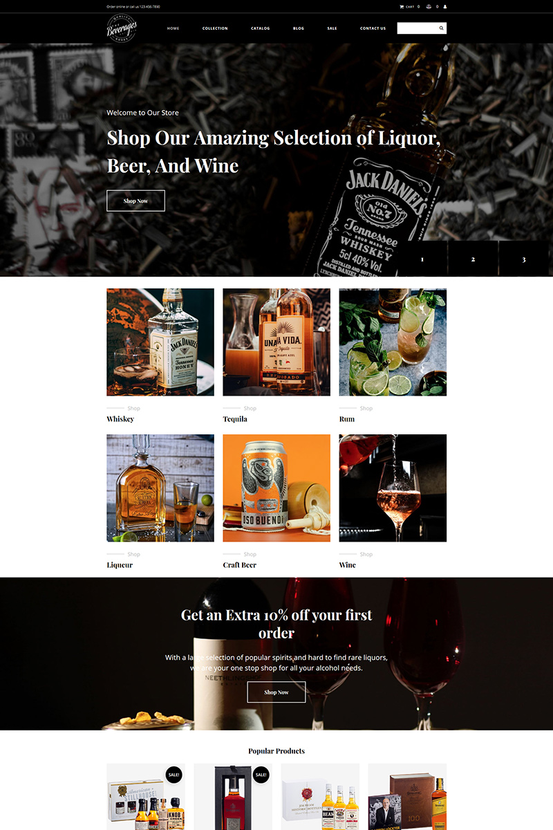 Drinks & Beverages MotoCMS Ecommerce Template