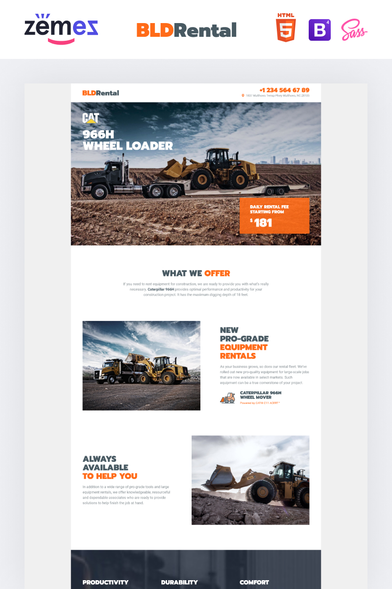 BLDRental - Equipment Rental Landing Page Template