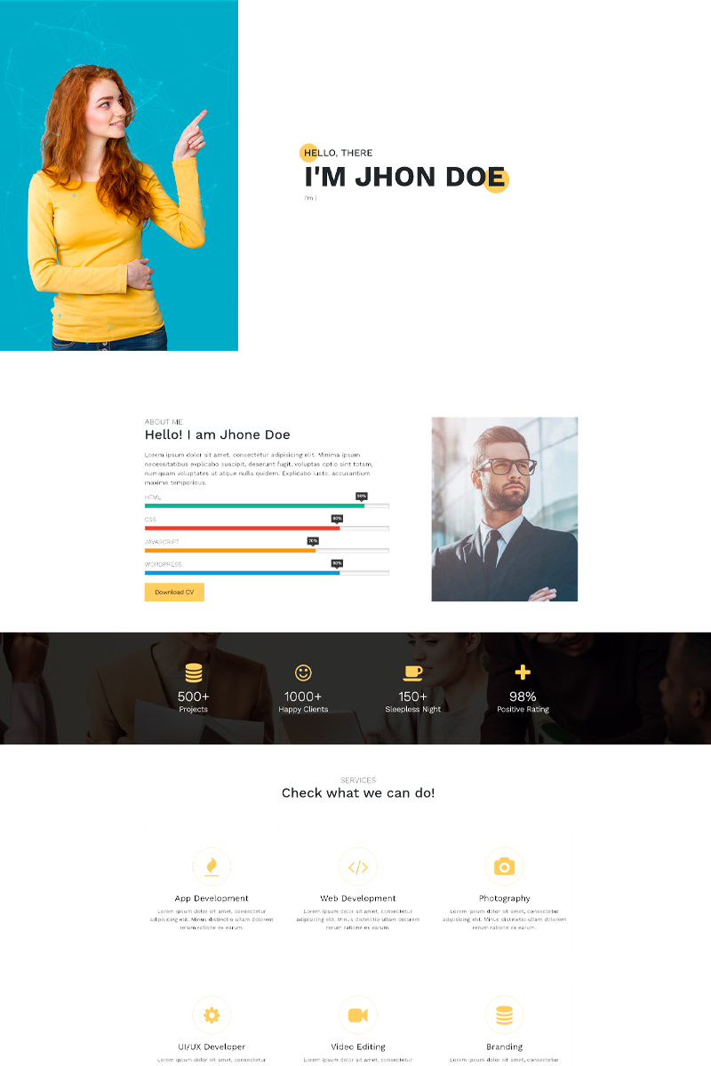 Perso - Responsive HTML5 Personal Portfolio Landing Page Template