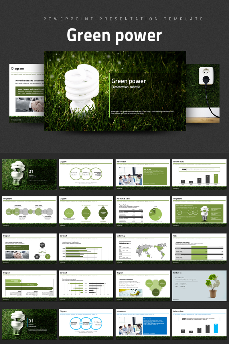 Green Power PowerPoint template