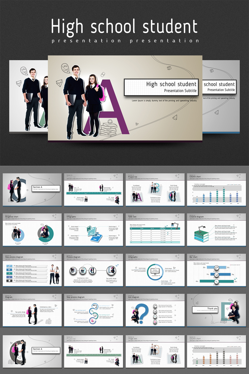 High school student PowerPoint Template