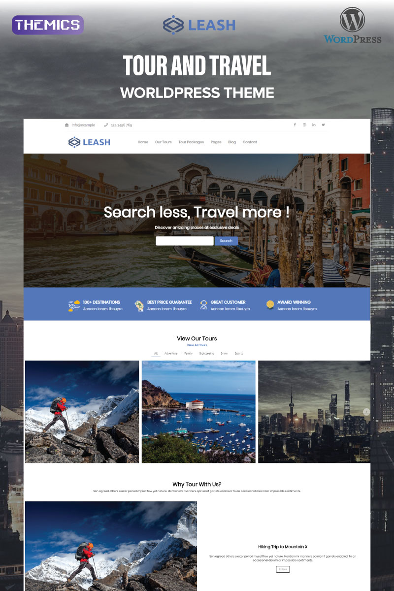 Leash - Tour & Travel Agency WordPress Theme