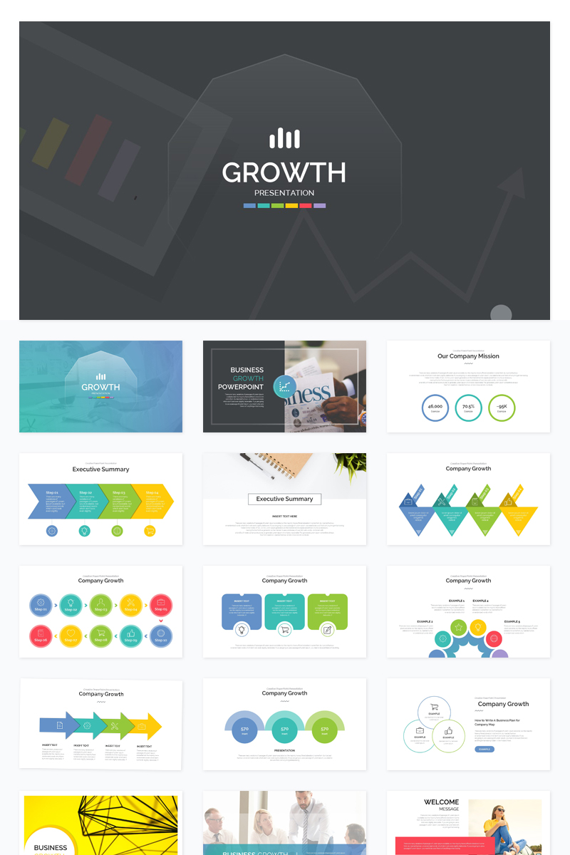 Info-graphic Company Growth PowerPoint Template